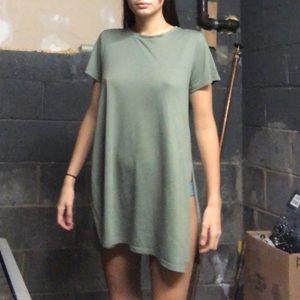 Short green T shirt dress